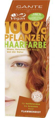 Био-Краска-порошок для волос растительная Красное пламя/Flame Red,  Sante, 100г