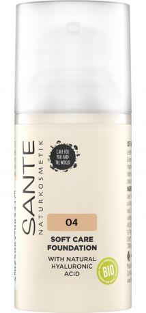 БИО-Основа под макияж Soft Care с гиалуроновой кислотой №4 Warm Honey Sante, 30мл - Фото 1