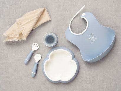 Набор детской посуды для кормления BabyBjorn Baby Dinner Set Powder Голубой - Фото 2