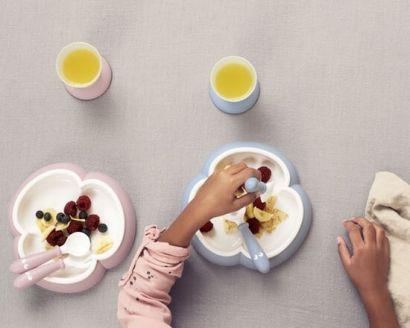 Набор детской посуды для кормления BabyBjorn Baby Dinner Set Powder Голубой - Фото 3
