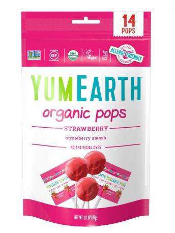 Леденцы YumEarth Клубника органические 14 шт, 85 г - Фото 1