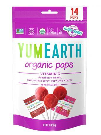 Леденцы на палочке YumEarth с Витамином С: клубника, вишня, малина органические 14 шт, 85 г - Фото 1