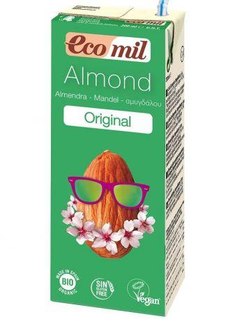 Растительное миндальное молоко Ecomil с сиропом агавы без сахара органическое 200 мл