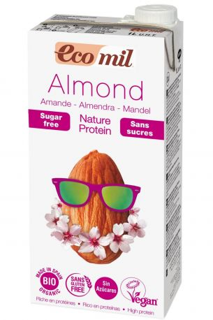 Растительное миндальное молоко Ecomil с протеинами без сахара органическое 1 л