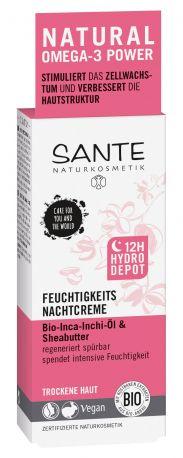 Био-Крем для лица Sante 12ч-Гидро-Запас ночной увлажняющий для сухой кожи, 50 мл