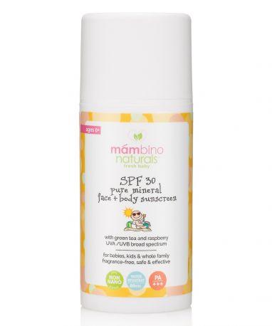 Детский органический минеральный солнцезащитный крем SPF 30, Mambino Organics Baby & Kids Natural Mineral Sunscreen, 100 мл - Фото 1