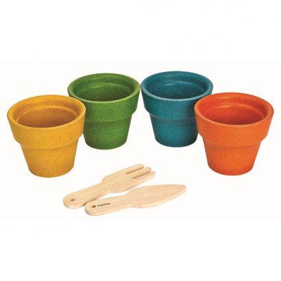 Набор из 4 деревянных Горшков для цветов, PlanToys