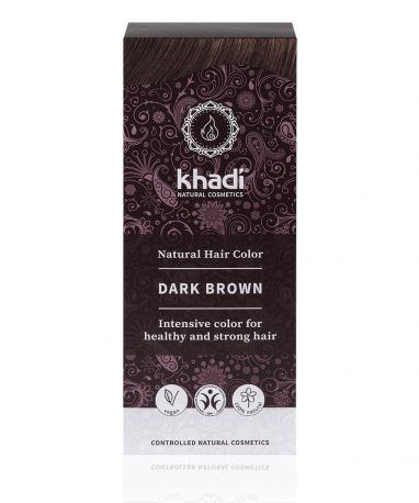 Растительная краска для волос Khadi Темно-коричневый (Dark Brown), 100 г - Фото 1