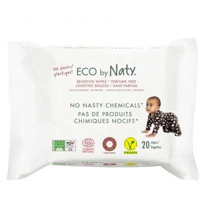 Влажные эко салфетки Naty без запаха для чувствительной кожи, 20 шт